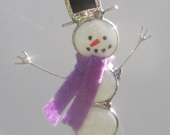 Snowman with Purple Scarf Stained Glass Christmas Ornament or Suncatcher