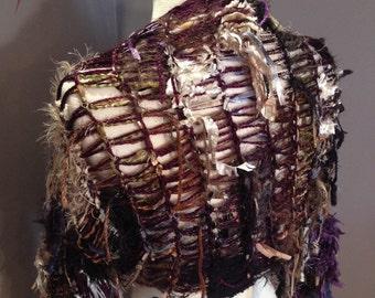Hand Knit Sleevie, Knit Shrug, womens Sweater, Dumpster Diva 'Royal Crown', Versatile fringed sweater, boho shrug, women poncho,  bohemian