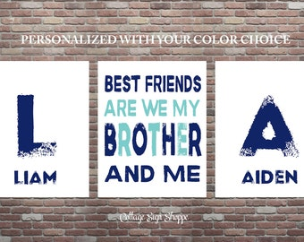 Best Friends Are We My Brother And Me, Brothers Sign, Brothers Wall Art, Best Friends Sign, DOWNLOAD ART,Brother Signs SET,Playroom Wall Art