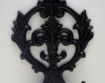 Fleur de lis Cast Iron FDL Shabby Chic Black Wall Hook Home Decor