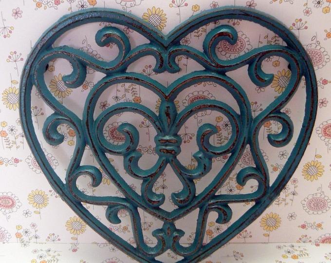 Heart Cast Iron Trivet Hot Plate Teal Blue Shabby Chic Fleur de lis FDL French Country Kitchen Decor