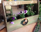 Rustic Planter Box w/ Painted Rooster