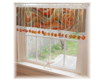 Splashy Artglass Number  TWO   Stained Glass Window Treatment Valance Curtain