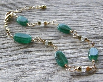 Summer Sale Green Onyx, Green Amethyst and Gold Bracelet, Kelly Green Gemstone Bracelet