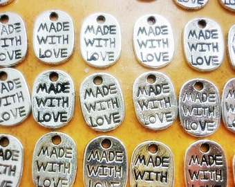 15 Made with Love silver oval stamped Charms