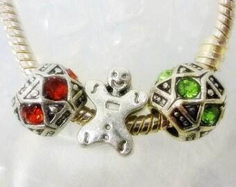 Holiday Trio Bead Set,3 European Christmas Bead Set,Gingerbread Man Silver Spacer bead