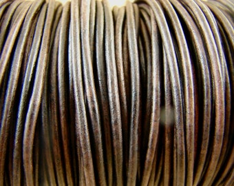 Premium Quality Leather Cord - Natural Rustic  Brown Distressed 2mm Round Leather Cord - 2 Yards - ndb2mm
