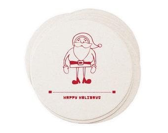 Christmas Coaster Set - Holiday Letterpress Coasters Reindeer Santa Snowman