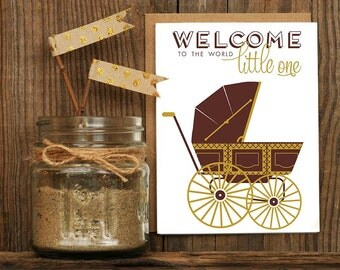 Baby Carriage Letterpress Greeting Card