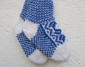 Handknitted norwegian selbu socks for babies