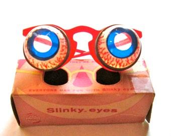 Vintage Slinky Eyes Glasses /Original Googley Eye Glasses / James Industries / Circa 1950's / Gag / Vintage Toy