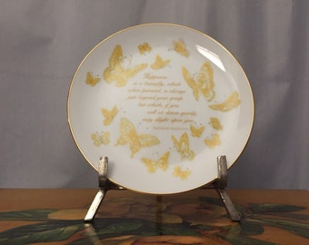 Butterfly Plate Happiness Poem Gold Vintage Butterflies Lasting Memories Replacement White Ceramic
