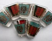 7 Fred Press Mid Century Spain & Finland Coat-of-Arms 2.75 Inch Whiskey Glasses