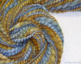 AquaBoogie Handspun - Novelty 2 ply Art Yarn - 58 yds - Mixed Media - Knit - Crochet - Felt - Display - Prop