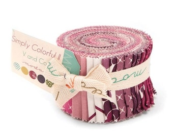 SALE Purple Simply Colorful II Junior Jelly Roll Fabric - Moda - V And Co - Qty 2