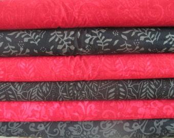 Black Red Fire & Ice Moda Batik Half Yard Fabric Bundle