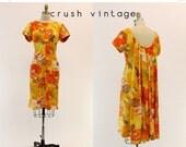 SALE 60 Cape Dress Small Medium / 1960s Vintage Alice Hawaiian Cotton Dress /  Orange and Lemons Dress