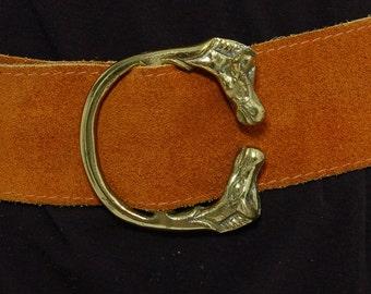 Vintage 70s SUEDE Belt with HORSE Buckle Leather Boho Belt Novelty Belt Italian Suede Belt Equestrian Belt