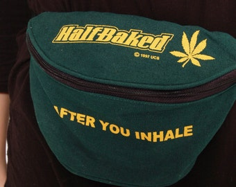 Vintage 90s Fanny Pack HALF BAKED Hippie Pack STONER Bag Green Printed Marijuana Festival Bag Movie Memorabilia