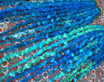 "Sets of 10 or 20 Nubby Mermaid Lumpy Thick Messy Dread Extensions 13-20"" Natural Crocheted Knotty Synthetic Dreads Blue Teal Petrol Green"