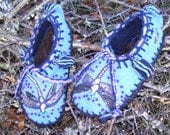 Dragonflies Take Wing Shoes- Wool  Lining /Felted Blanket Wool / Sheepskin & Heavy Leather Soles Shoes/  Moccasins - Women's Sizes