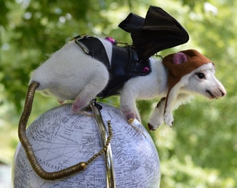 "Steampunk ""Rats Rule the World"" White Rat OOAK Artist Needle felt Sculpture by Stevi T.    Free Shipping"
