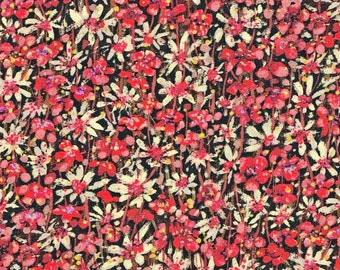 Liberty Tana Lawn Eleonora Red Floral Fabric- Fat Quarter