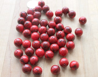 50 red and black marbled resin beads,red resin beads,red and black marbled beads,red resin beads,8mm,resin beads,