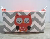 Personalized Diaper Caddy - APPLIQUED Owl Fabric Basket Storage - Custom Design - Diaper Bag - Baby Gift- Nursery Decor - Chevron Zigzag