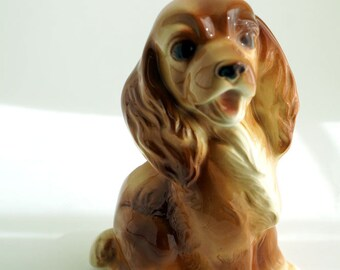 Vintage ceramic planter, cocker spaniel dog, Royal Copley mid century decor
