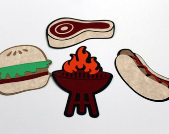 Summer BBQ grill, steak, hotdog and hamburger die cuts
