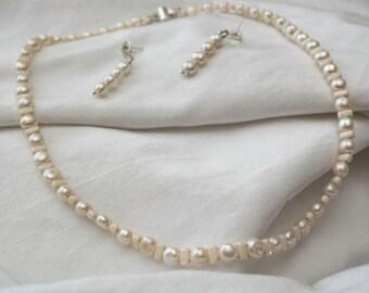 Freshwater Pearl Necklace & Earrings