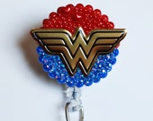 Wonder Woman Logo On Blue ID Badge Reel - Retractable ID Badge Holder - Zipperedheart