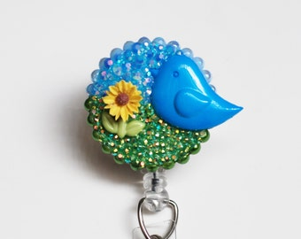 Blue Bird In Spring Time ID Badge Reel - Retractable ID Badge Holder - Zipperedheart