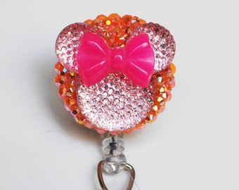 Minnie Mouse Pink Neon Bow And Silhouette ID Badge Reel - Retractable ID Badge Holder - Zipperedheart