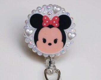 Minnie Mouse Tsum Tsum ID Badge Reel - Retractable ID Badge Holder - Zipperedheart