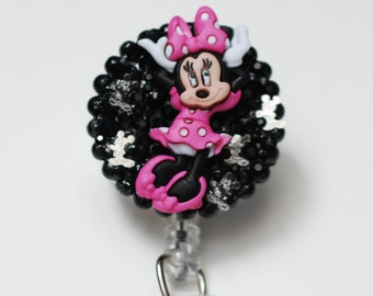 Minnie Mouse In The Pink  ID Badge Reel - Retractable ID Badge Holder - Zipperedheart