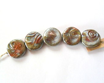 Coin Shape Raku Fired Clay Beads - Set of 5