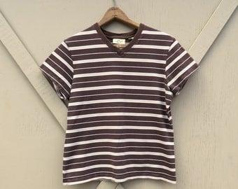 90s vintage Brown Striped V-Neck Short Sleeve T-Shirt / Limited America