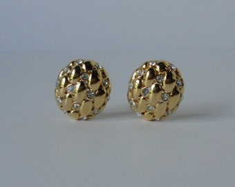 Vintage Gold tone with Rhinestones NAPIER Earrings.