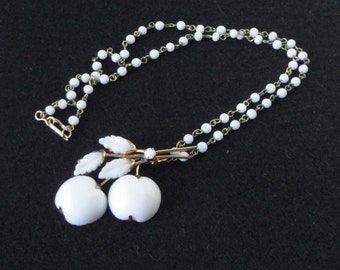 Hand Crafted Gold tone metal  and White  Lucite Apple Necklace.