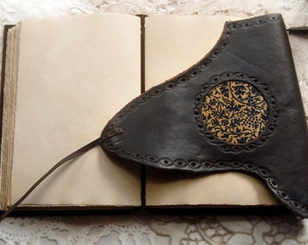Reverie - Dark Brown Leather Journal, Tea-Stained Pages, Paisley Fabric - OOAK