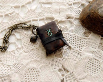 The Little Bibliophile - Miniature Wearable Book, Dark Brown Leather, Tea Stained Pages & Vintage Bell, OOAK
