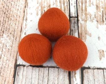 Orange Felted Wool Dryer Balls - Felted Wool Laundry Balls - Eco-Friendly Laundry Balls - Chemical Free Laundry - cat toy - Waldorf Toy