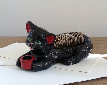 Charming Painted Cat Desk Accessory, Mid Century Letter Holder