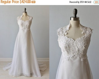 SALE Vintage 1970s High Collar Lace and Chiffon Wedding Dress / Vintage 70s Wedding Gown / Bohemian Wedding / Wisteria
