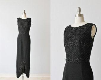 Vintage Black Beaded Formal Dress / Black Evening Dress / 1960s Dress / Banff