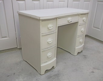 Desk / Vanity, Distressed White Cottage Style DK701 Shabby Farmhouse Chic