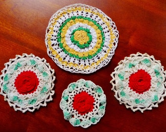 Vintage Rose Crochet Small Doily Lot - 3 Red, 1 Yellow Gold - Repurpose