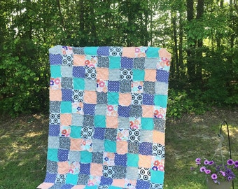 King Quilt, Full Quilt, Rag Quilt, YOU CHOOSE SIZE, Wink and Smile fabrics, peach purple, black and teal, comfy cozy handmade bedding